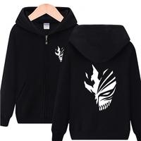 High Q Unisex Anime BLEACH Hoodie Fleece Kurosaki ichigo Cardigan Hooded Hoodie Sweatshirts Jacket BLEACH Mask Pullover Hoodie