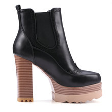 Women Ankle Boots Square High Heel