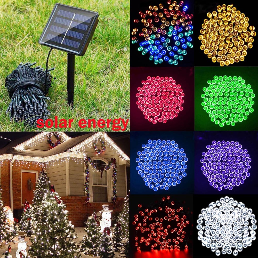 HENYNET 30LED 50LED 100LED 200 LED Solar String Lights, 72 ft Fairy Christmas Lights Decorative Lighting Decorations ...