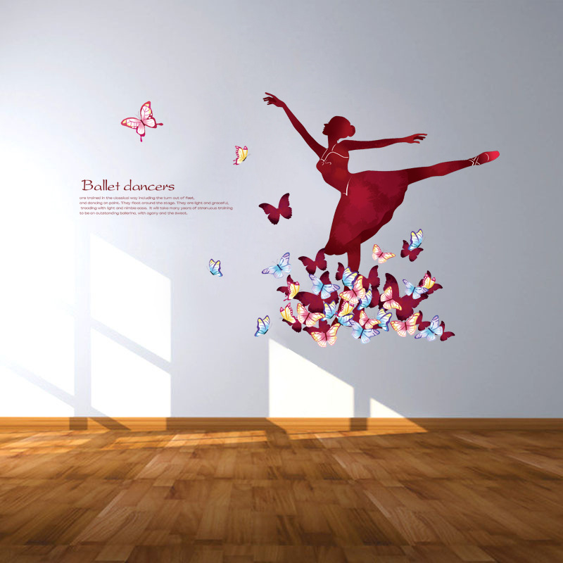 Modern Ballet Dancing Girl Wall Stickers Living Room Bedroom Bedside Sofa  Background Stickers Dance Room Decorative