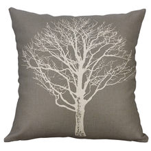 Simple Solid color Tree printing Cotton Linen Square Pillow Cover 45cm*45cm Sofa Waist Throw Cushion Cover Bed Home Decoration(China)