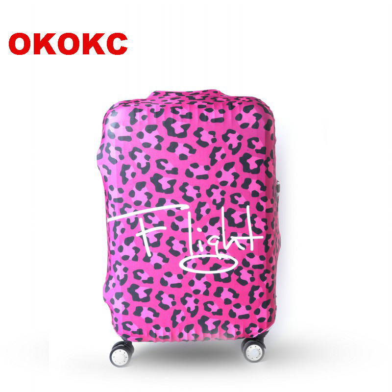 OKOKC Rose Leopard Elastic Travel Luggage Suitcase Protective Cover For Trunk Case Apply To 19''-32'' Suitcase Cover