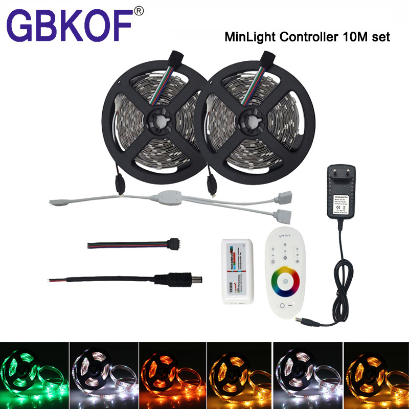 Hot 10M 15M 20M 5050 RGB LED Strip 60leds/m Non Waterproof diode tape +RF Touch Remote RGB Controller +AC110/220V DC12V AdapterHot 10M 15M 20M 5050 RGB LED Strip 60leds/m Non Waterproof diode tape +RF Touch Remote RGB Controller +AC110/220V DC12V Adapter