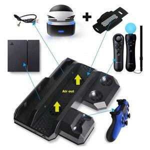 Image 2 - Многофункциональная Вертикальная охлаждающая подставка для консоли PS4 Pro/PS4 Slim/PS4 PS Move, контроллер PS4, зарядная станция, VR Держатель Витрины