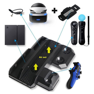 Image 2 - Multifunctional Vertical Console Cooling Stand PS4 Pro/PS4 Slim/PS4 PS Move PS4 Controller Charger Station VR Showcase Holder