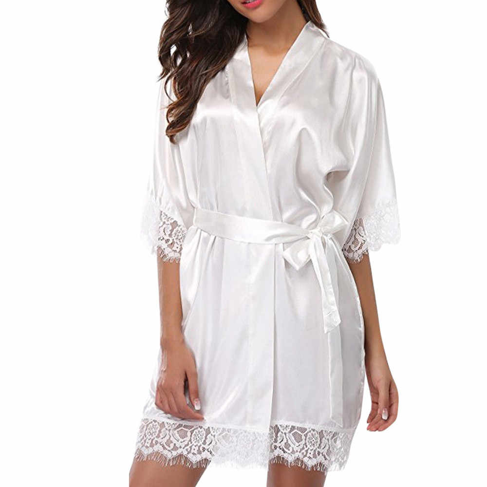 5d220f469e2d Women Sexy Satin Night Robe Lace Bathrobe Perfect Robet Dressing+G String Panties  Gown Nightwear