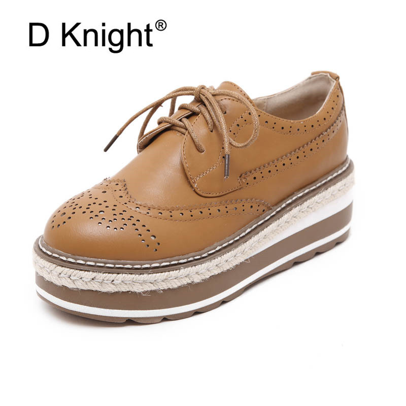 British Oxford Shoes Women Spring Soft Leather Oxfords Wedges High Heels Casual Platform Lace Up Women Shoes Retro Brogues Pumps ladies casual platform wedges oxford shoes for women metallic pu cut outs women high heels summer brogue oxfords shoes woman