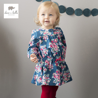 Dave Bella baby girls floral dress children spring autumn clothes toddler kids lovely clothing DB663