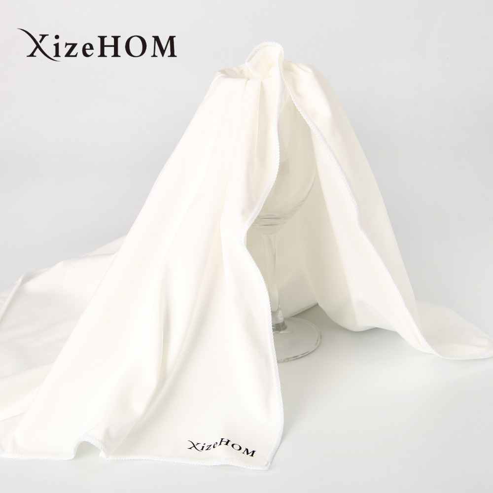 XizeHOM MEGA Sized Microfiber Glass  Polishing  Cloth by Trendy Bartender Premium Lint Free Cleaning Cloth For Stemware(White)