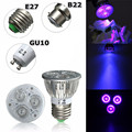 Hot Sale E27/B22/GU10 3W UV Ultraviolet Purple LED Spot Light Bulb Lamp 85-265V