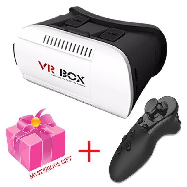 2017 hot google papelão vr box1.0 realidade virtual hd binocular óculos adicionar 4.0 controle remoto sem fio bluetooth gamepad