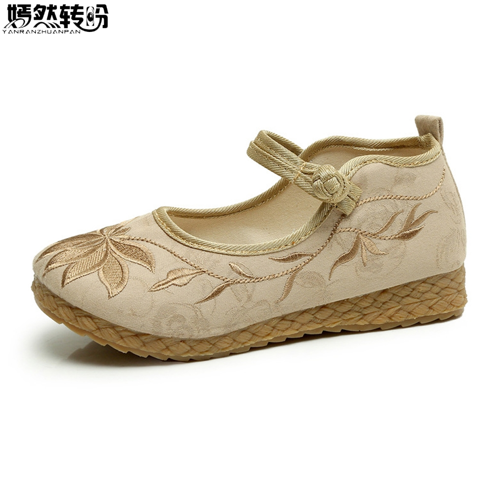Chinese Women Shoes Vintage Boho Cotton Linen Canvas Cloth Shoes National Soft Woven Round Toe Flat With Embroidered chinese women flats shoes vintage boho