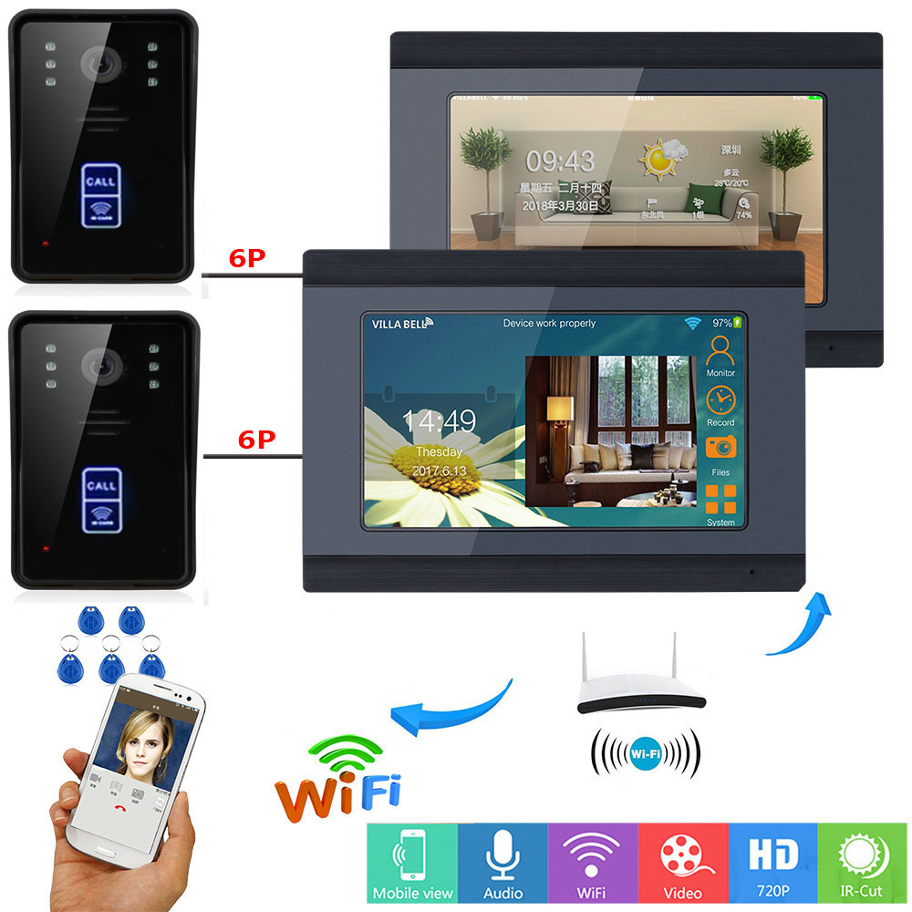 SmartYIBA 7 Inch IP Intercom Wifi App Remote Video Intercom System IOS Android Keyfobs RFID Unlock Video Doorbell Interphone