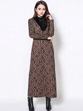 Autumn Winter New Large Size Women  Long Dress Retro Print Sleeve Plus Velvet Loose Fur Collar Female Keep Warm