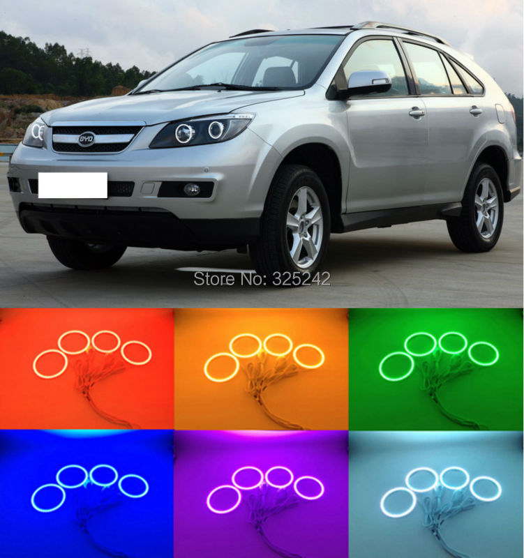For BYD S6 2011 2012 2013 2014 Excellent Angel Eyes Multi-Color Ultra bright RGB LED Angel Eyes kit Halo Rings for lifan 620 solano 2008 2009 2010 2012 2013 2014 excellent angel eyes multi color ultra bright rgb led angel eyes kit