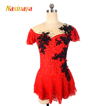 customized clothes figure skating dress rhythmic gymnastics short sleeve red adult child girl show skirt performance rhinestone стоимость
