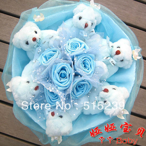Hot Style artificial flower toys bouquet 6 lovely joint bear 6 ...