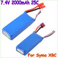 2pcs Lot Lipo Battery 7 4V 2000mAh 2S 25C For Syma X8C RC Quadcopter Helicopter Drone
