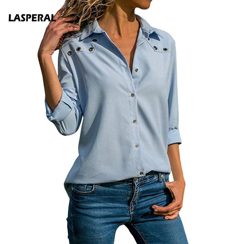 LASPERAL Women   Blouse     Shirt   Long Sleeve Korean Fashion 2019 Autumn Office Ladies   Blouse   Solid Slim Tee Top Female OL Style Blusa