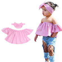 2017 Summer LovelyClothing Girls Cute Outfits 2PCS Hot Kids Baby Girls Off Shoulder T shirt