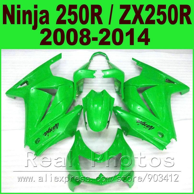 Chaux vert Kawasaki Ninja 250R Carénages kit 2008 2009-2013 2014 année ZX 250 EX250 08 09 10 11 12 13 14 carénage body kits G3V6
