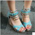 Обувь женщин богемия национального ветра пип-схождение обувь мода туфли на высоком каблуке клин сандалии новые молнии из бисера римские обувь лето 2 цвет