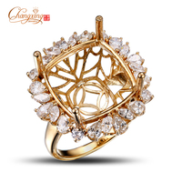 14 5x14mm Cushion 14k Yellow Gold 1 8ct Marquise Pear Round Cut Diamond Semi Mount Ring
