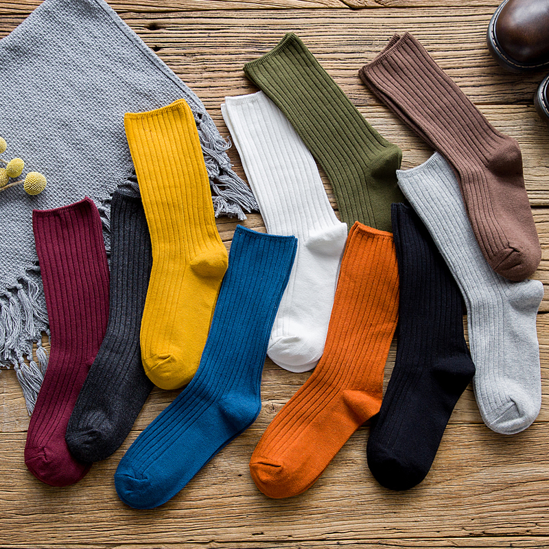Women Fashionable Cotton Spring Autumn Solid Striped Cute Jacquard Color Heap Japanese Long Casual Socks