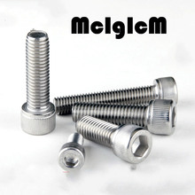 H062  M5 Bolt M5 Screw Stainless Steel Hex Socket Cap Screw, 304 Stainless Allen Bolt, DIN912 M5*6/8/10/12-100 Free Shipping
