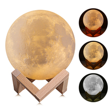 18CM Rechargeable Remote 3D Print Moon Lamp 16 Color Change Touch Switch Bedroom Bookcase Night Light Home Decor Creative Gift lumiparty rechargeable 3d print moon lamp 3 color change touch switch bedroom bookcase night light home decor creative gift