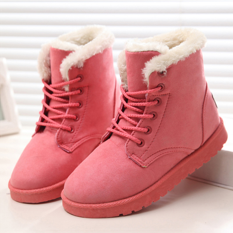 New Arrival Women Boots Snow Warm Winter Boots Botas Ankle Boots Lace Up Mujer Fur Ladies Winter Shoes Black 2016 rhinestone sheepskin women snow boots with fur flat platform ankle winter boots ladies australia boots bottine femme botas