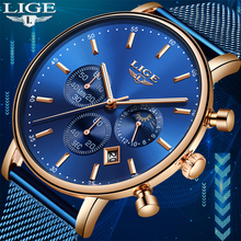 LIGE New Watches Mens Top Brand Luxury Blue Casual Mesh Belt Fashion Quartz Watch Waterproof Sports Relogio Masculino