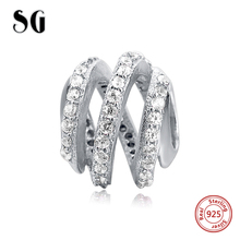 Fit Authentic pandora charm bracelets sterling silver 925 beads with cubic zirconia diy fashion jewelry making for women gifts