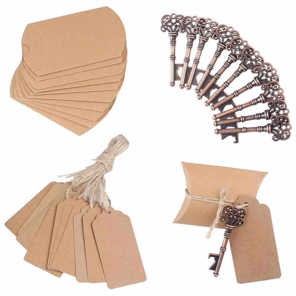 YHYS 50 ensembles boîte à bonbons artisanale avec clé décapsuleur étiquette carte boîte de papier pour faveurs de mariage cadeaux de fête fournitures de fête d'événement