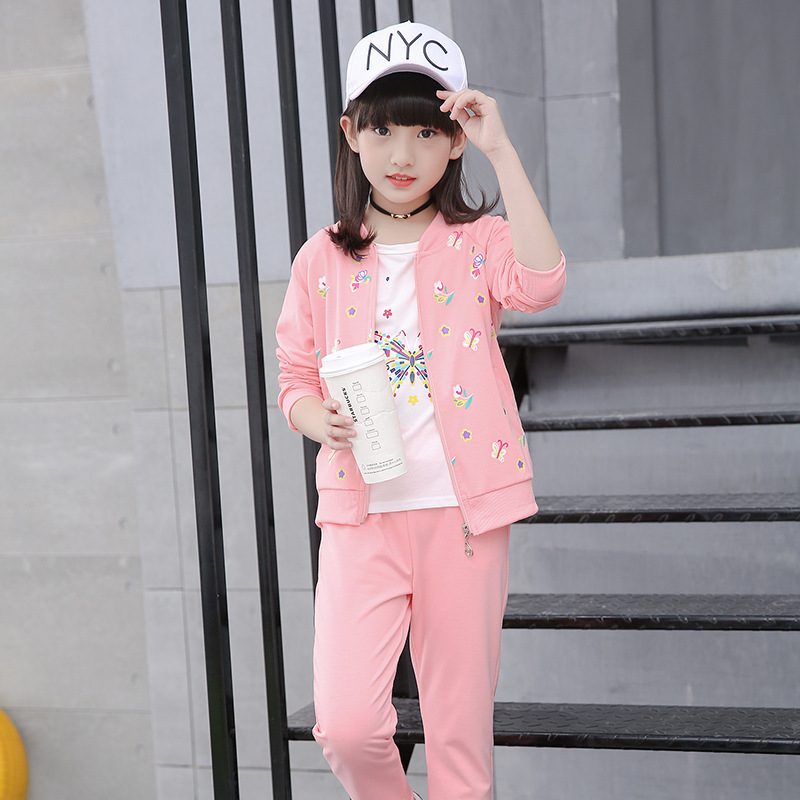 Children's Garment Girl Autumn Clothing Suit New Pattern Three-piece Children Spring And Autumn Korean Girl Child Clothes Kids kids spring formal clothes set children boys three piece suit cool pant vest coat performance wear western style