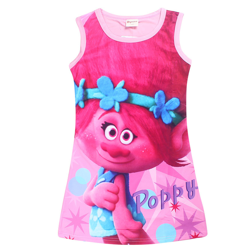 New Trolls Baby Girls Dresses Summer Style Sleeveless Cool Cartoon Girls Dress A Little Girls Clothes Children's Clothing прогулочные коляски cool baby kdd 6688gb a