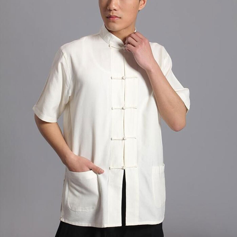 Umorden Short Sleeve Cotton Tang Suit Top Men Kung Fu Tai Chi Uniform Shirt Blouse Traditional Chinese Clothes Clothing For Men
