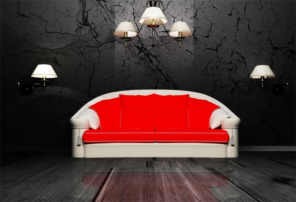 Laeacco Old Wall Lamp Sofa Wooden Flooring Scene Photography Backgrounds Customized Photographic Backdrops For Photo Studio