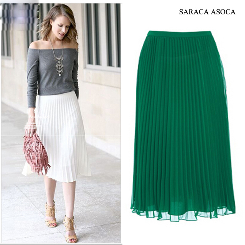 Wholesale 22Color All-Match Super Pleated Chiffon Skirt Muslim Womens Elastic Band Fashion Ankle-Length Long Bust Skirts