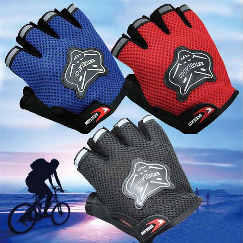 Cycle zone 1 Pair Men's Fitness Cycling Gloves Wrist Half Gloves Bike Bicycle Sports Gloves Red/Orange/Blue