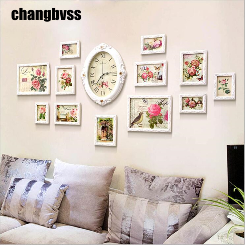 12pcsset rose design photo frame wall with clock white wooden wall hanging picture frame - Wall Hanging Photo Frames Designs