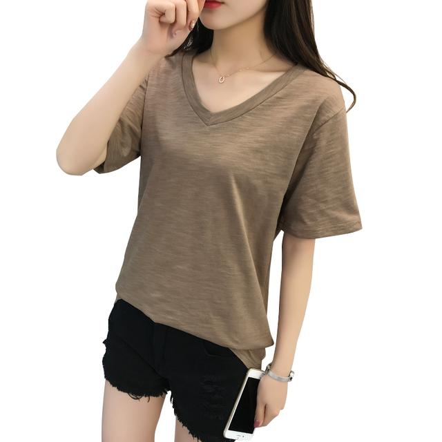 475832c8755c6 Korea T Shirt Summer Women Tops 2018 V-Neck T-shirts Solid Loose Short