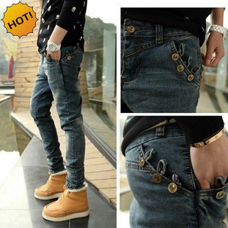 Fashion Spring Autumn Boys Slim Fit Skull Button Design Denim Jeans Teenagers Hip Hop Men Streetwear Harem Pants 28-34 Bottoms