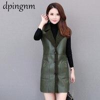 Women Leather Jackets Slim Autumn Winter Faux Lamb Wool Waistcoat Sleeveless Faux Fur Vest Hood Outwear Green Jacket