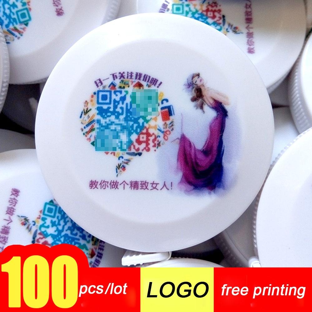 KACY 100pcs/lot Free printing logo Retractable Tape Measure, Compact Flexibile Tape Measure