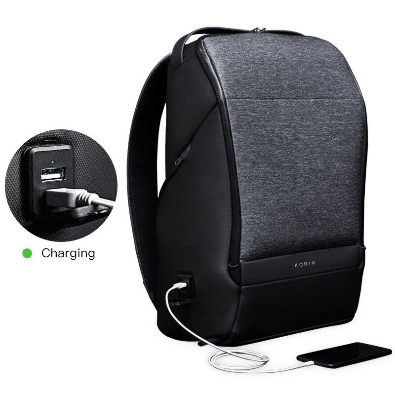 Kingsons מיני תרמיל גברים Krion FlexPack 15 אינץ מחשב נייד Bagpack דובון מנעול USB טעינה גב בני נער נסיעות תיק