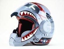 Мужчины женщины F4 MASEI серый Железный Человек личность специальный мотоцикл оригинальные половина открытое лицо шлем мотокросс-S, M, L, XL, XXL