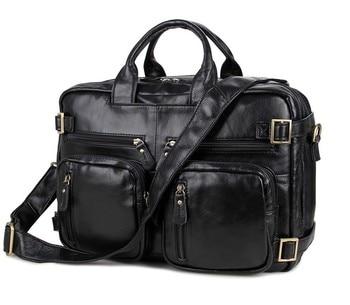 Nesitu Vintage Real Skin Genuine Leather Male Bag Men Messenger Bags Business Travel Bag Portfolio 14'' Laptop Briefcase #M7026