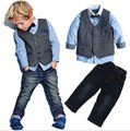 Boys Spring cool denim clothes sets children clothing vest + long-sleeve shirt+ pants 3pcs kids handsome clothes