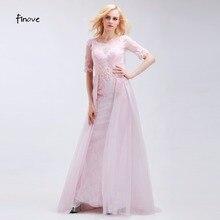 Finove Romantic Pale Pink Bridesmaid Dresses Elegant Mermaid Half Sleeve Scoop Neck Backless Sequins Beading Chiffon Long Gowns